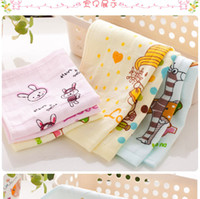 baby print material - Factory Direct Natural Cotton Gauze Material Printing Pink Blue Cotton Towel Children Small Square HY1228