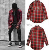 Wholesale Fear Of God Spring Military Quality Men s Casual Brand Damage Red Plaid Shirts Man Autumn Cotton Plaid Long Shirt