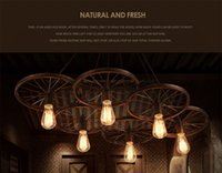 Wholesale Loft creative personality retro droplight sitting room dining room bar American country wrought iron wheels industrial chandeliers