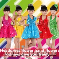 Wholesale Children Kids Sequin Fringe Stage Performance dress for festival Children dance tulle dress girl ballet suspender dress