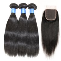 Wholesale Brazilian Virgin Hair Straight Bundles With Lace Closure Cheap Straight Human Hair Weave Bundles With Lace Closure