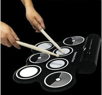 achat en gros de ensemble de batterie électronique-Hot W759 Digital Foldable Portable 7 Drum Pad Instrument de musique Electronic MIDI Drum set Silicon Roll-up Drum Kit Sticks # 381