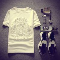 Wholesale Summer Short Sleeved Casual T Shirt Crewneck White Color Hip Hop Fashion Men Luxury Tshirt Men Cotton Top Tees