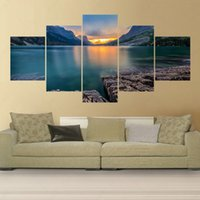 Wholesale 5 Piece Sunset Lake Canvas Art Picture Oil Painting Cuadros Decoracion Peinture Wall Pictures For Living Room Pintura No Frame Painting