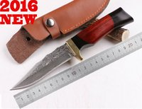 battle knife - Damascus Zhanying Battle Shadow Ebony fixed Blade Knife Premium Cutlery Straight Knives Camping Collection Gift Fruit Peel Tools knives