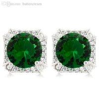 asscher cut emerald - Sterling Silver Prong Round Cut Green Emerald Studs On Asscher Halo Earrings