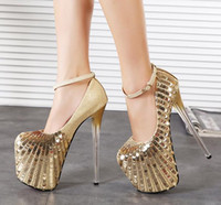 20cm high heels - 20cm Ultra High Heels Women Sequined Shoes Stilettos Heels Sexy Women Wedding Shoe Women Pumps Plus Size