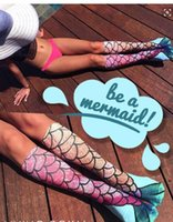 Wholesale hot sale women girl mermaid printing cosplay socks fashion stockings socks bottoming fish scale pattern socks long socks
