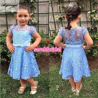 Wholesale Pretty First Communion Dresses Sheer O neck Full Lace Flower Girl Pageant Wear with Sash for Kids Formal Holiday Wedding Guest Gowns