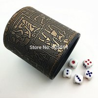 Wholesale T amp G High Quality Brown Leather Rune Dice Cup mm White Dice in customize