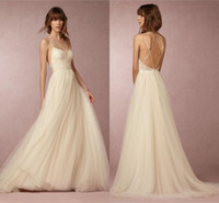 Wholesale 2016 Beach Wedding Dress BHLDN Sexy Spaghetti Strap Sleeveless Appliques Lace On Top A Line Wedding Gowns Custom Made