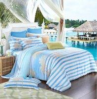 beach comforter stripe - blue and white stripes coconut tree beach pure tencel silk bedding set bedlinen Spring summer bed textile Queen King