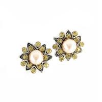 Wholesale 6pcs Pearl flower shaped new women and men Crystal Clasps rhinestone mm Snap Press Button SHU0920