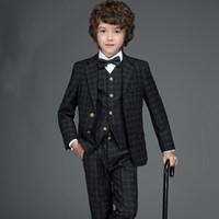 Wholesale 2016 High Quality new children s suits boys suits big virgin dresses flower girl dresses Jacket Pants vest for cm