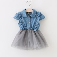 baby jeans shorts - Hot Baby Kids Toddler Lace Denim Tutu Dresses Ruffle Flower Party Wedding Pageant Princess Tulle Dress Children Jeans Clothing DHL