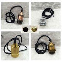Wholesale Vintage Rose gold Gold Silver Copper Choose Edison Lamp Holder Pendant Light E27 Socket Lamp Base line m Retro decoration