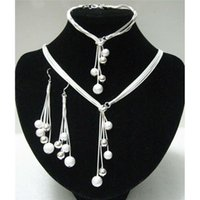 Wholesale Hot Selling Silver Jewelry Sets High Quality Silver Bead Jewelry Set For Women Necklace Bracelet Earrings