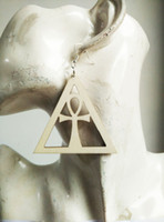 Wholesale afro Triangle Hollow ankh wood earrings WR T mix sell