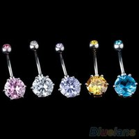 Wholesale Hot Crystal Gem Belly Ring Button Bar Body Piercing Surgical Steel Navel Ring V8U