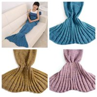 Wholesale Knitted Mermaid Blankets Sweet Kids Girls Multi Color Sweater Sleeping Bags Western Cute Kids Swaddling