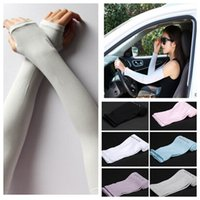 Wholesale Uv Sleeves Gloves Sports Cooling Arm Sleeves Unisex Sun Block cooler Cover Long Arm Sleeve Glove Outdoor Activities Skin Protection KKA698