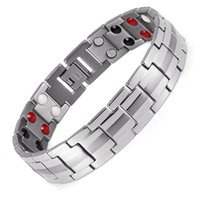 accessory row - Rainso Fashion Jewelry Healing Double Row FIR Magnetic L Stainless Steel Bracelet For Men Or Women Accessory quot Rose Gold OSB