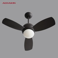 Wholesale ALHAKIN Vintage Ceiling Fan With Light And Remote Control Industrial Lighting Restaurant Living Room Black Ceiling Fan