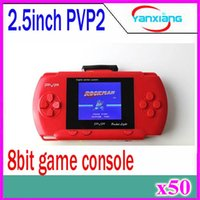 Wholesale DHL New edition Inch bit game player TFT LCD PVP2 Portable Handheld Game Console Enclosed A Game Cassette for children ZY PVP2