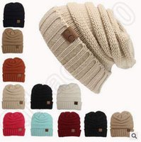 Wholesale 12 Colors Knitted CC Unisex Beanie Autumn Casual Cap Knitted Beanie Hat Warm Winter Hats Unisex Casual Knitted Beanie Hat CCA5022
