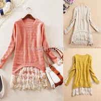Wholesale Womens Slim Vintage Lace Hem Sweater Stitching off Two Knitting Wool Clothes