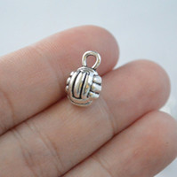 Wholesale 30Pcs Volleyball Charms Sport Pendants Antique Silver D x10mm