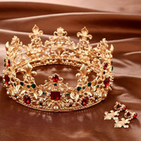 Wholesale 2017 Gold Luxury Rhinestones Baroque Retro Grand Crown For Bridal Crowns With Earrings Hair Accessories For Women wedding hair accessories