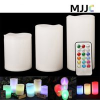 battery operated lights for weddings - LED Candle Night Light Battery Operated Set Pillar Electric Candles Multi Function Remote Controller Color Changable Safty for Decorate