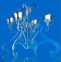 Wholesale acrylic candle holder for cups birthday candle holder display plexiglass Candlestick holder Candelabra
