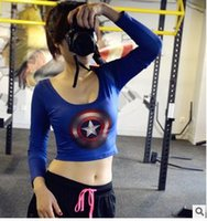Wholesale Superman Women Sport T shirt Compression Long Sleeve Tee Tops Running Fitness Gym Casual T Shirt Dry Quick Female Clothing