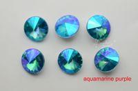 Wholesale 100 mm Glass Color Purple Faceted Glass Rivoli Jewels