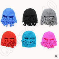 Wholesale Novelty Handmade Knitting Wool Funny Beard Octopus Hats Caps Crochet Knight Beanies Ski Face Mask Knitted Hat Halloween Gift CCA5111