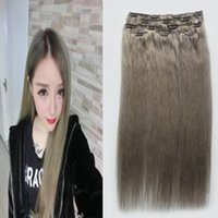ash extensions - 8A ash Blonde Hair Extensions Brazilian Straight Clip ins african american Grey Hair Clip g Human Clip Hair Extensions