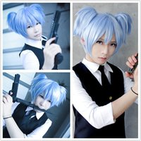 anime wigs cheap - New And Cheap Cute cm Short Ice Blue Pigtails Cosplay Assassination Classroom Shiota Nagisa Anime Wig
