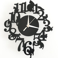 abstract cat art - Fashion Creative Diy Cartoon Cat Clock Wall Stickers Bedroom Living Room Home Decorations Acrylic Removable Waterproof Wall Clock