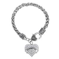 Wholesale Myshape Hand Jewwelry Engrave DIABETIC Bracelet Pendant Necklaces Pendant Charms Jewelry Rhodium Plated Crystal Pendant HandJewelry