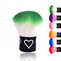 Wholesale 10pcs Mini Rhinestones Nail Art Dust Brushes Cosmetic Face Brush colors Love Design suer soft