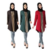 arab clothes - 2016 New Muslim long shirt Turkish Women Blouse clothing Islamic Woman Tops Musulmane dubai kaftan lady Blouses arab Black shirts Plus size