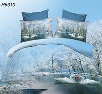 Wholesale HD digital swan D bedding set snow trees d comforter cover bed sheets pillowcases d oil bed set bed linen d winter sight