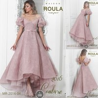 art shirt designs - New Design Pink Lace Formal Evening Dresses For Bridal Party Off Shoulder Short Sleeves Sash High Low Prom Special Occasion Ball Gown