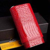 ashtray bins - COHIBA Cigar Box Holder Case Gadgets Red Leather Portable Wood Cigar Storage Bins Outdoor Humidor mm M5303CB4