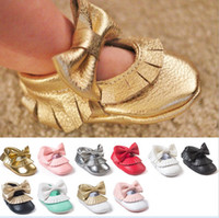 Wholesale Seven Harper Style Baby PU Leather Bowknot Shoes Moccasins Soft Shoe Open Toe Handmade Sandel Tassel Toddler Prewalker For T K7493