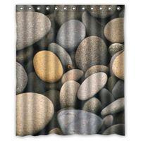 Wholesale home decor Colorful seaside lucky stone Custom Shower Curtain W x180 H cm decorative