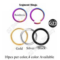 Wholesale 10pcs Colors G23 Titanium Segment Captive Ring Nose Labret Lip Ring Body Piercing Jewelry Pircing
