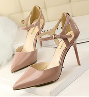 Wholesale Ankle Strap Patent Leather Brand High Heel Women Sandals Pumps Summer Shoes Woman Pointed Toe High Heels